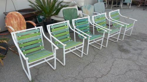1960s-SAMSONITE-Patio-Chairs-5-Vintage-Sunrest-Slat-Chairs-Mid-Century-Modern