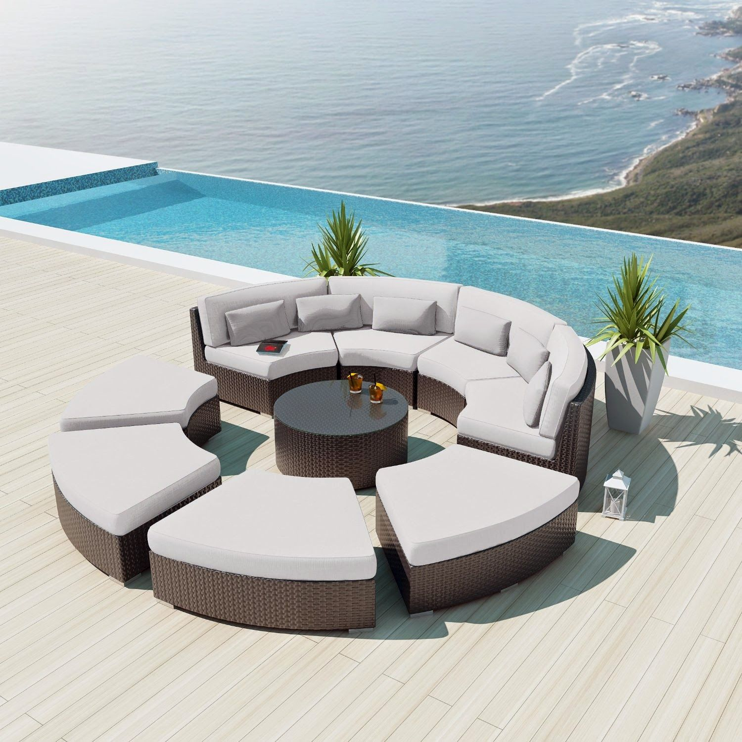 Gallery Of Curved Outdoor Sofa Sectional Patio Furniture Patio Sofa