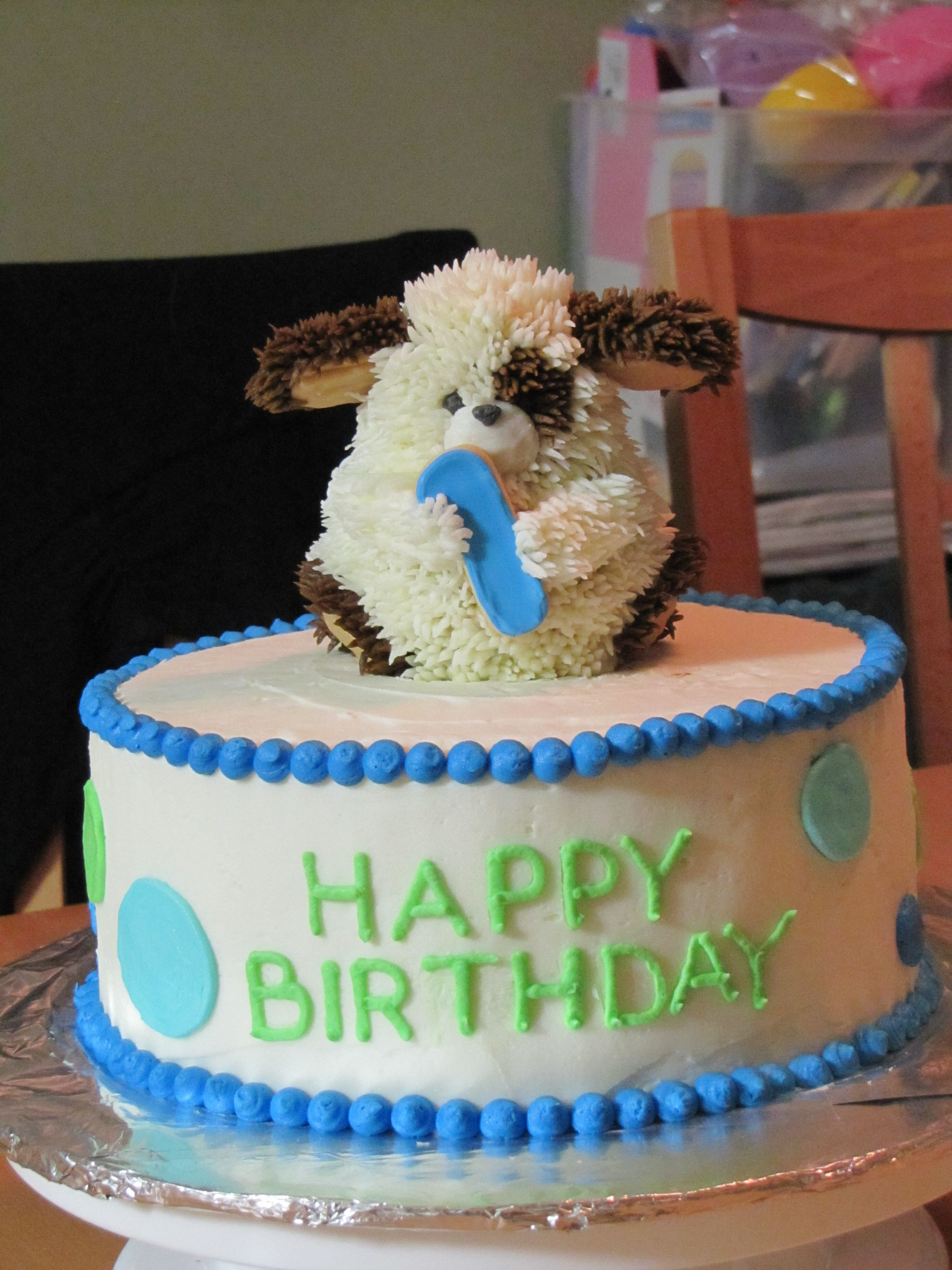 Peachy Boys 1St Birthday Cake With Puppy Cake On Top For Bday Boy To Eat Funny Birthday Cards Online Drosicarndamsfinfo