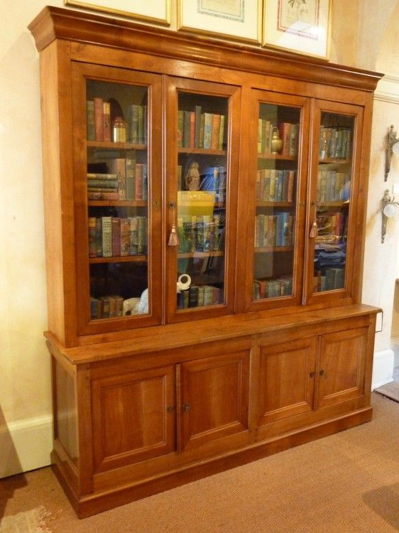 """Louis Philippe Open Bookcase: Louis Philippe French Provincial """"Bibliotheque"""""""