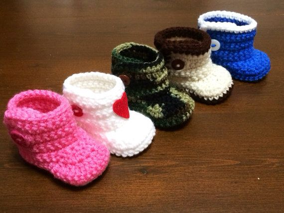 NB 0-12 months PDF Pattern for Handmade Crochet Button Baby Boots ...