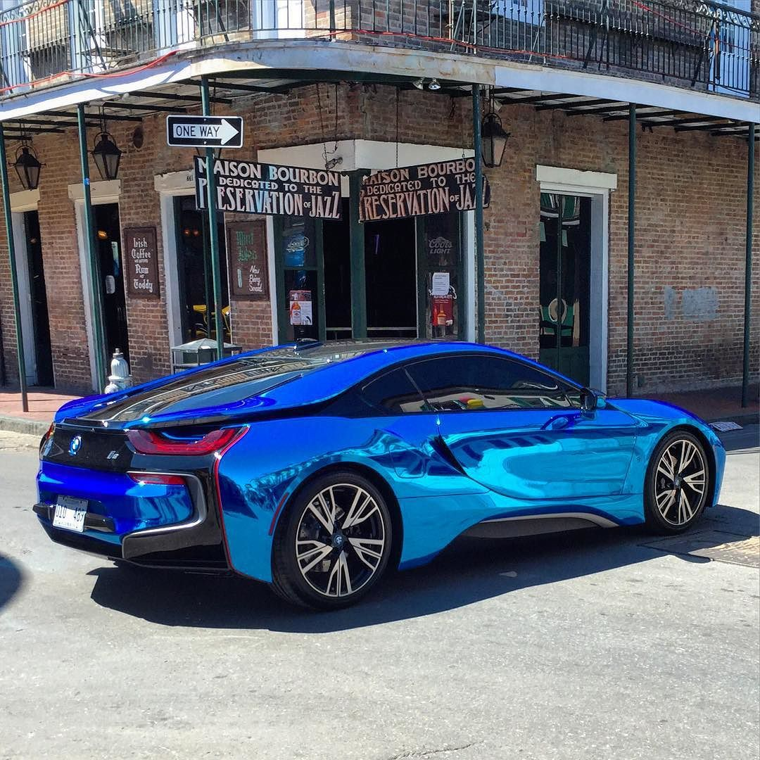Blue Chrome Wrapped Bmw I8 In The Frenchquarter Down NewOrleans Town Vinylwrap Vinyl By Boomerang803