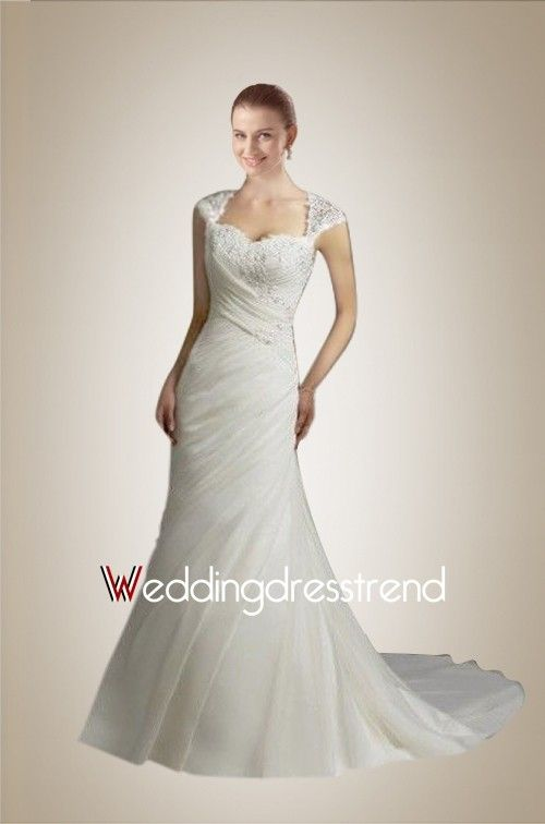 173 00 Chic Sweetheart Applique Ruched Wedding Dress With Cap Sleeves