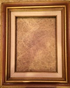Vintage Mid Century Picture Frame Gold w Sable Brown Linen Fits 9x12 Mexico | eBay