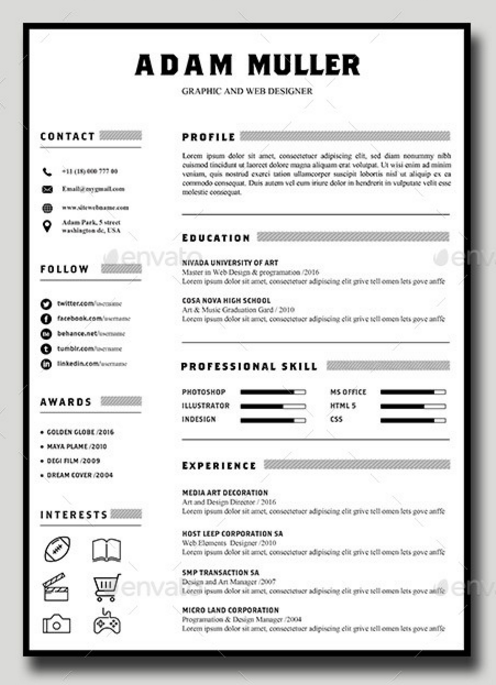 Download 35 Free Creative Resume CV Templates XDesigns Resume