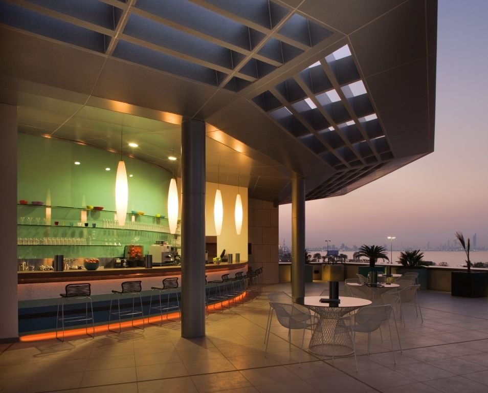 Airy by day and intimate at night The luxurious grand terrace at