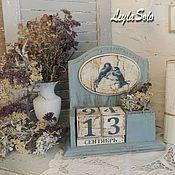 вечный календарь в горошек настольный Лавандовые дни – купить или заказать в интернет-магазине на Ярмарке Мастеров | Ещё один предмет, вечный календарь из серии…