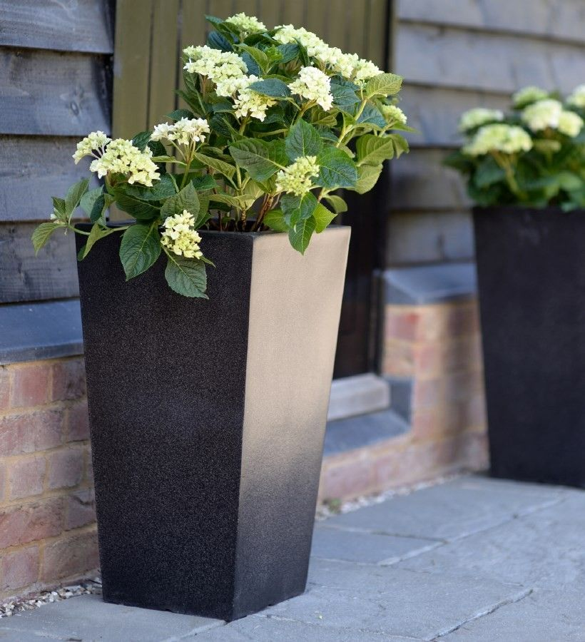 Beautiful Fibreglass Planters. A PAIR Of Tapered Terrazzo Effect Tall Planters. Tall  PlantersOutdoor Planters