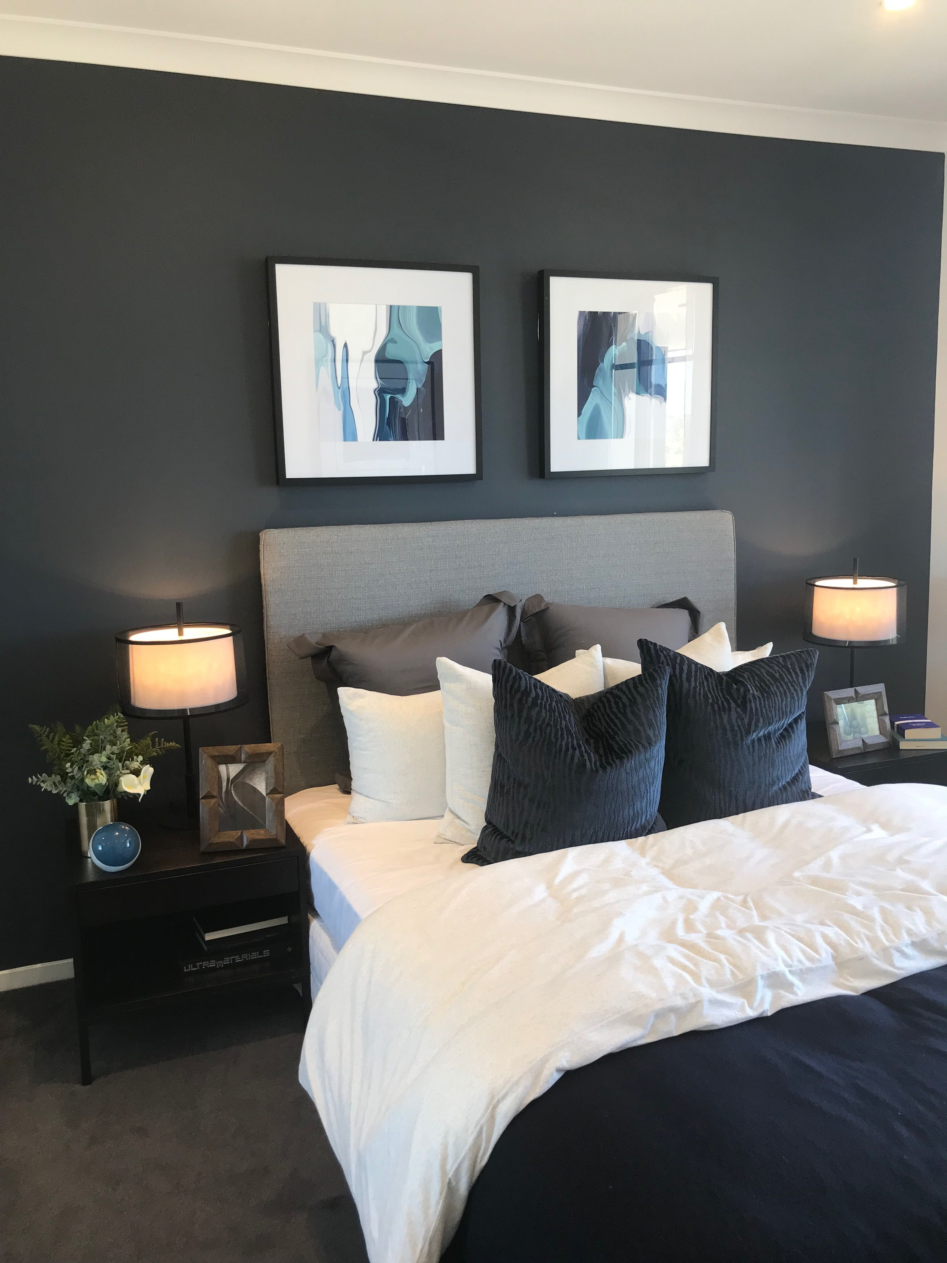 Love All Of The Colors Dark Blue Gray White Gray Master Bedroom Blue Master Bedroom Master Bedroom Paint