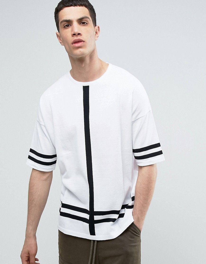 ASOS Knitted T-Shirt With Stripes - White