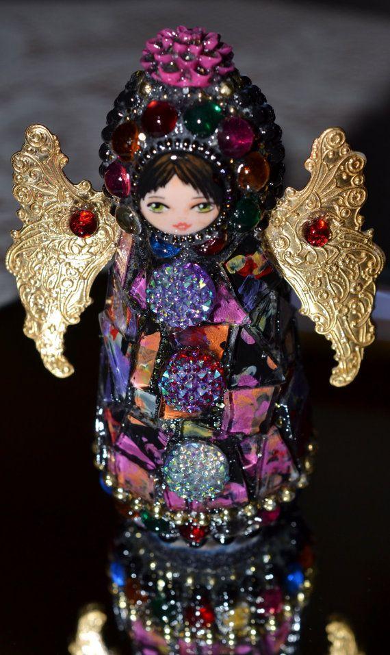 Wood Peg Doll Mosaic Angels by FlutterflyMosaics on Etsy