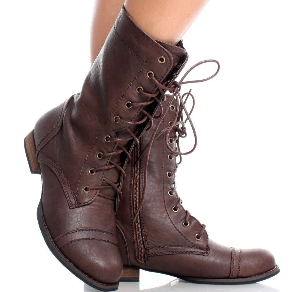 Brown Round Toe Lace Up Combat Military Army Womens Flat Ankle ...