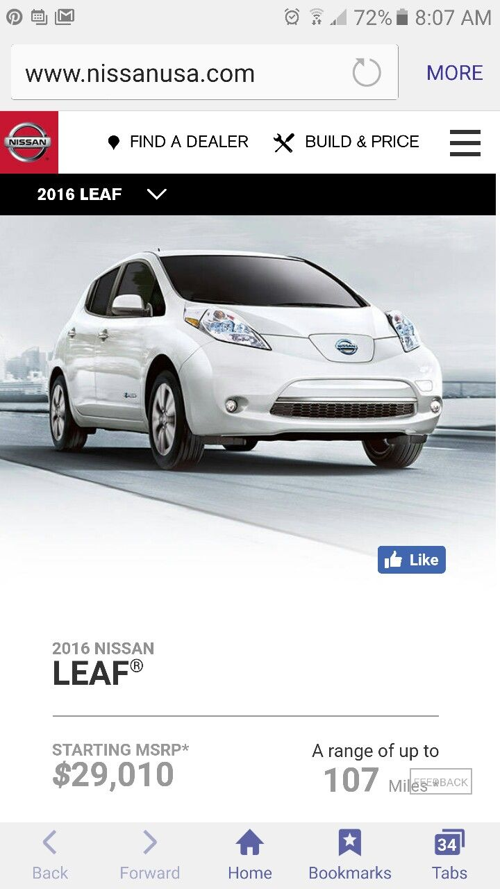 2016 Nissan Leaf     107 Miles Per Charge     Starting At $29,010