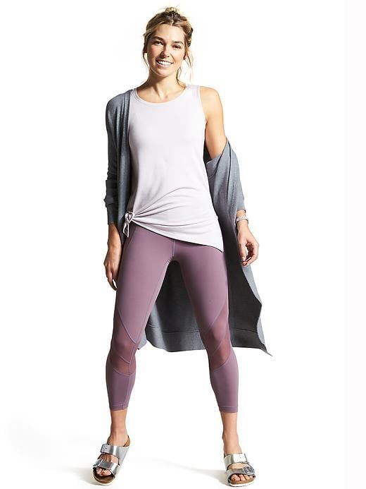 a7681bf1d5a2e Athleta Spirit Wrap, Threadlight Layering Tank, Mesh Shine Salutation 7/8  Tight, Birkenstock