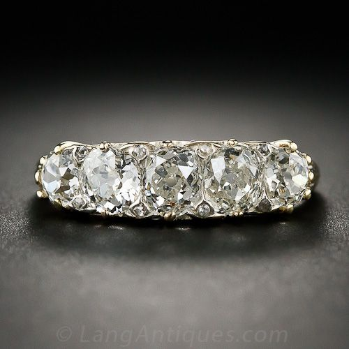 Victorian Five Stone Diamond Ring 10 1 5947 Lang Antiques Diamond Vintage Diamond Rings Jewelry
