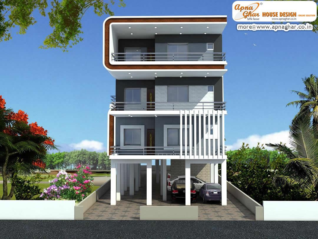 3 bedrooms independent floor design in 408m2 12m x 34m for 3 storey building front elevation