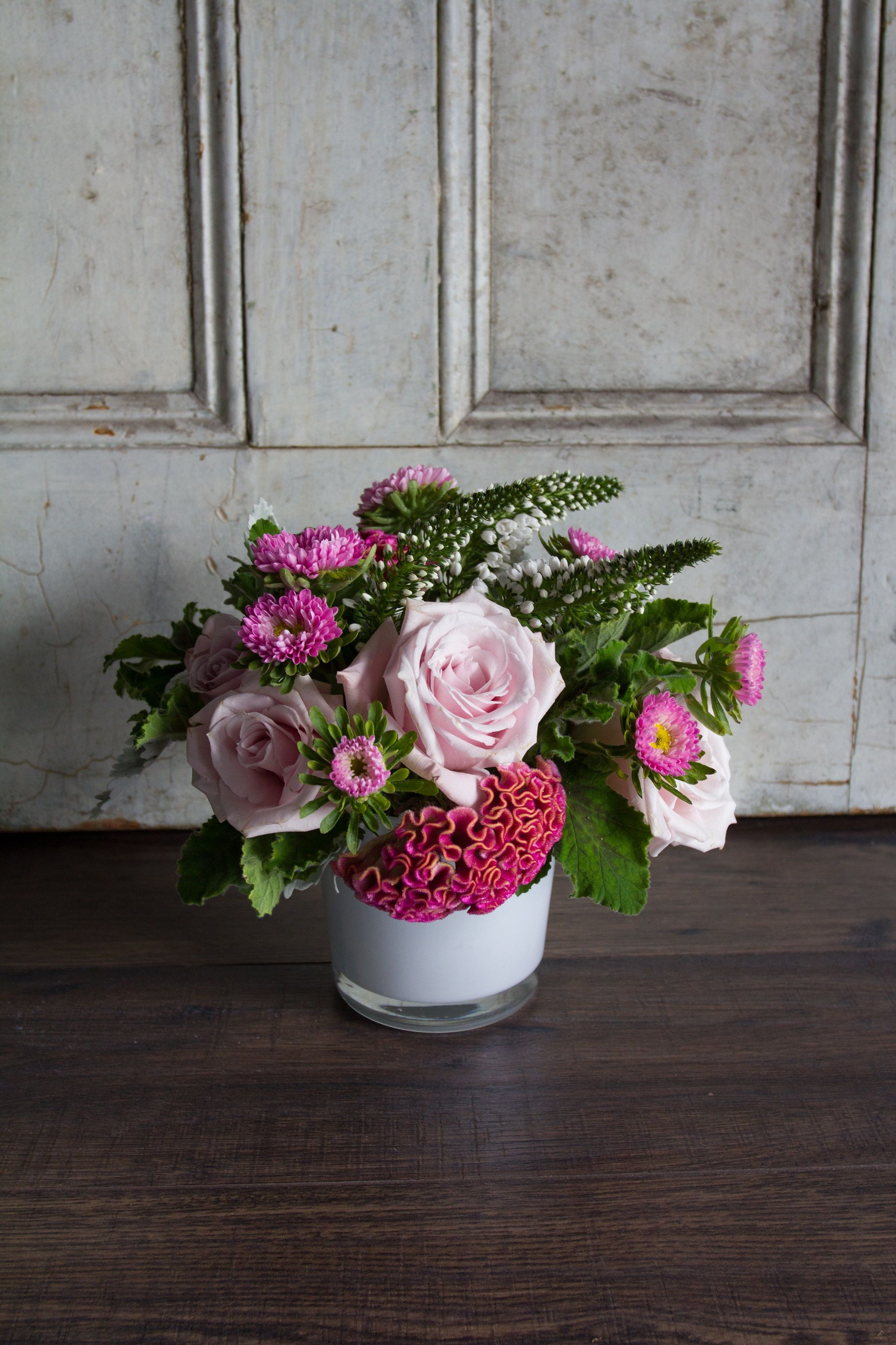 Pink Aster Blooms Blush Roses And Textured Celosia Petite Pink By Winston Flowers Fresh Flowers Arrangements Winston Flowers Flower Arrangements