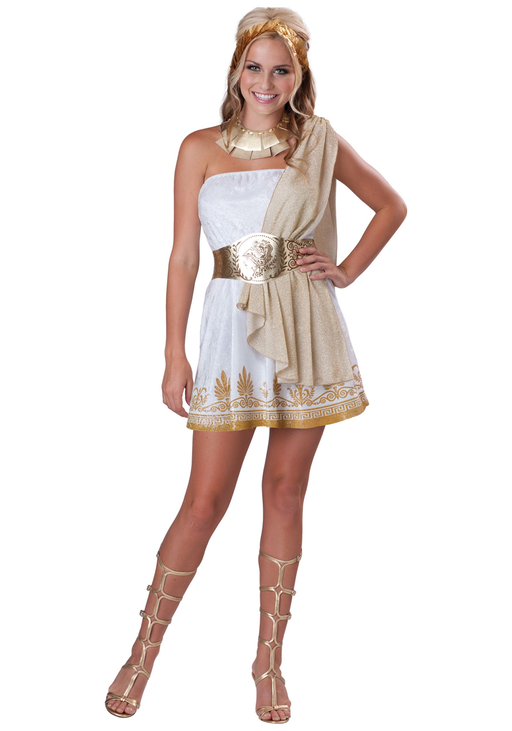 Hollowen costumes halloween costume ideas historical costumes incharacter costumes teen glitzy goddess costume whitegold large dress with attached shoulder drape printed belt necklace and headpiece with gold solutioingenieria Gallery