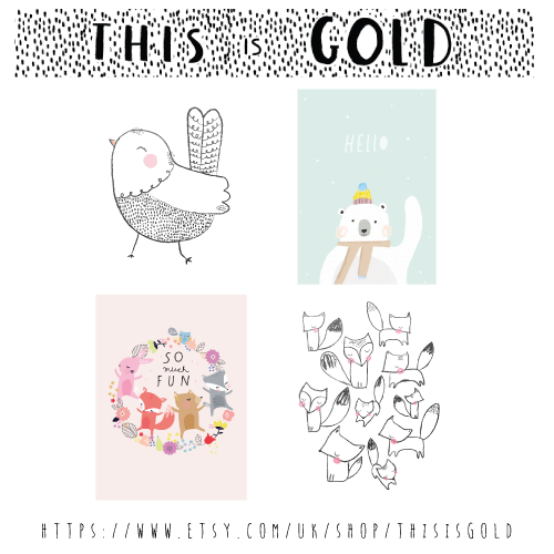 This is Gold shop now open!  These 4 illustrations are available to buy  https://www.etsy.com/uk/shop/ThisisGold  Check it out!  #illustration #bear #hello #poster #nursery #cute #bunny #fox #bird #typeimage