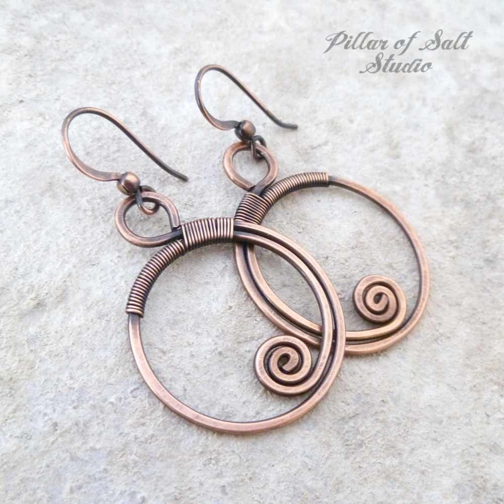 Wire Wrapped hoop copper spiral earrings | Earrings handmade, Copper ...
