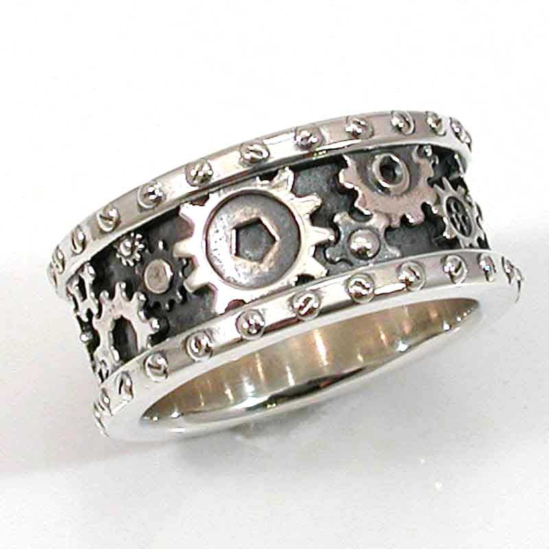 SteamPunk Mens Silver Ring Gears and Rivets Industrial Steam