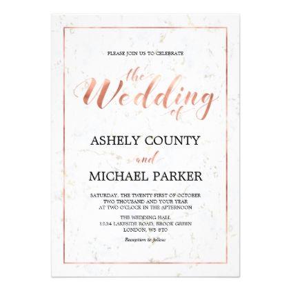 Marble Simple Modern Typography Wedding Ceremony Invitation