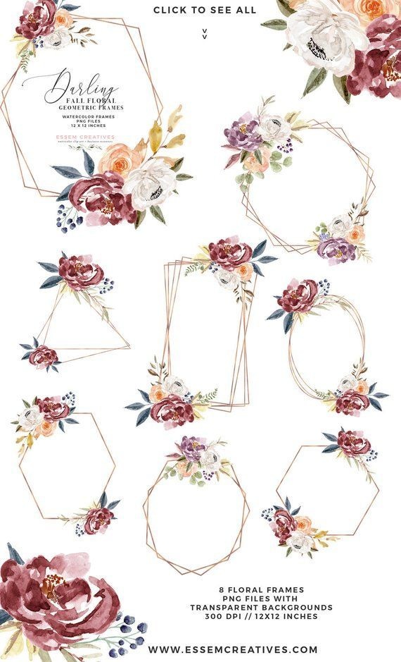 Fall Watercolor Flowers Clipart Boho Chic Floral Wreaths Etsy Fall Watercolor Floral Watercolor Wedding Clip
