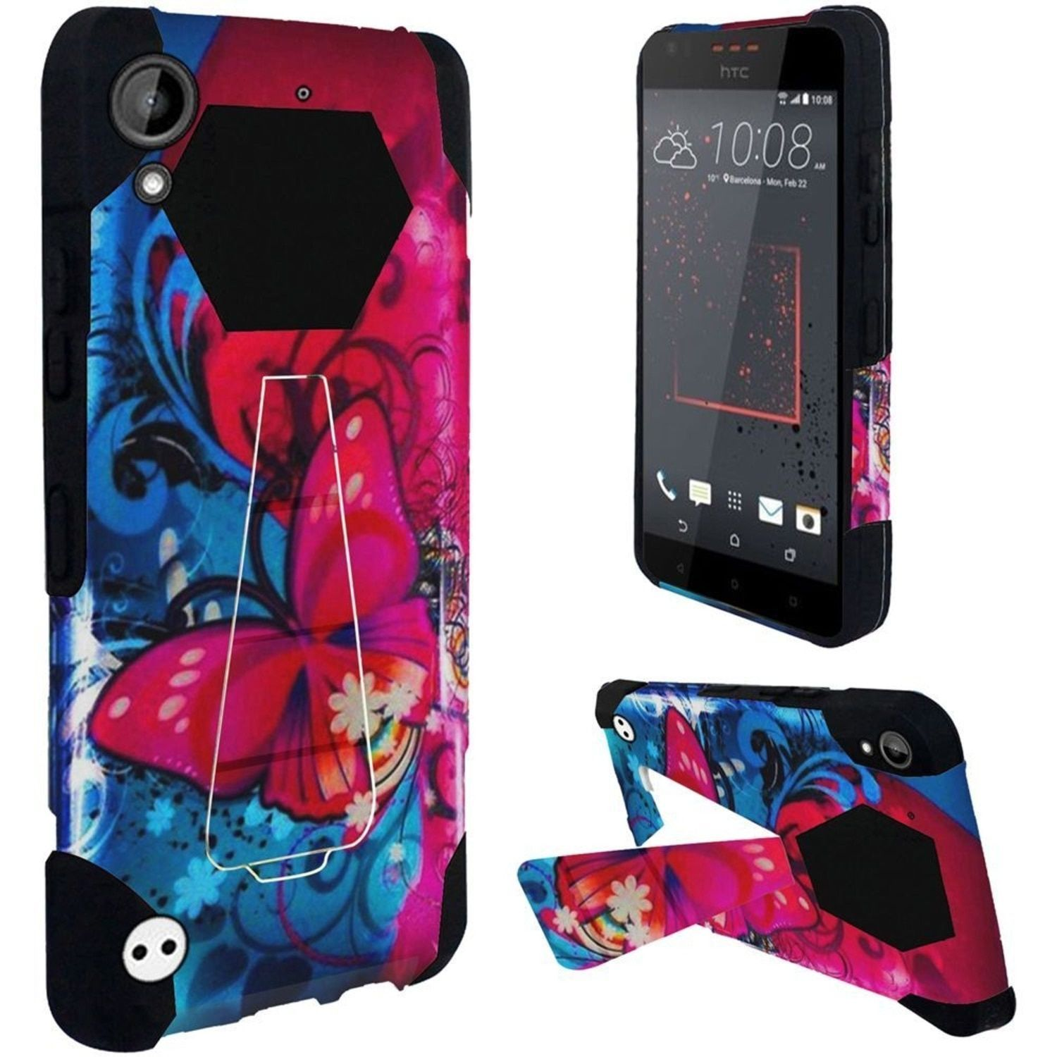 Insten / Red Butterfly Bliss Hard PC/ Silicone Dual Layer Hybrid Rubberized Matte Case Cover with Stand For HTC Desire 530 #2279825