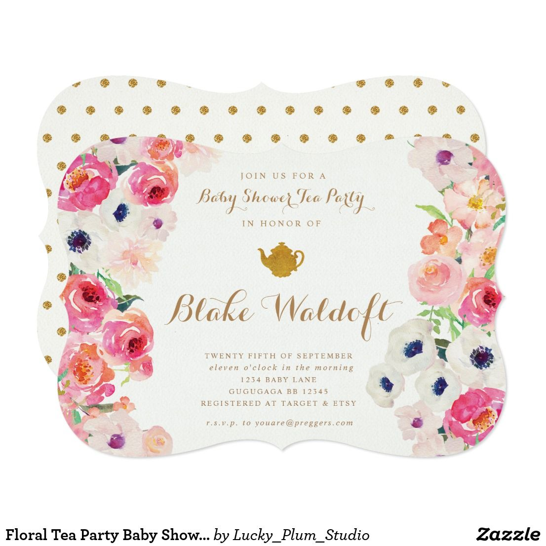 Floral Tea Party Baby Shower Invitation | Baby shower tea, Tea party ...