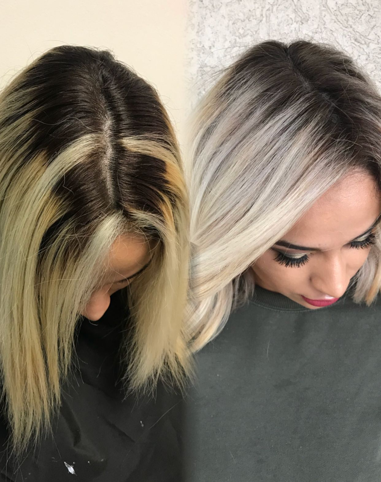 Hair Transformation Beforeandafter Colorcorrection Ombrehair Highombre Rootedblonde Haircolor Hairs Ice Blonde Hair Balayage Hair Dark Roots Blonde Hair