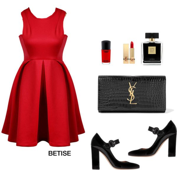 BLACK & RED  ! by betty-sanga on Polyvore featuring Gianvito Rossi, Yves Saint Laurent, Avon and MAC Cosmetics