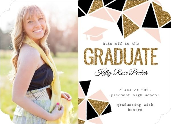 Standout Geometric Glitter Graduation Announcement by PurpleTrail.com. #graduation #graduationannouncements #graduationideas