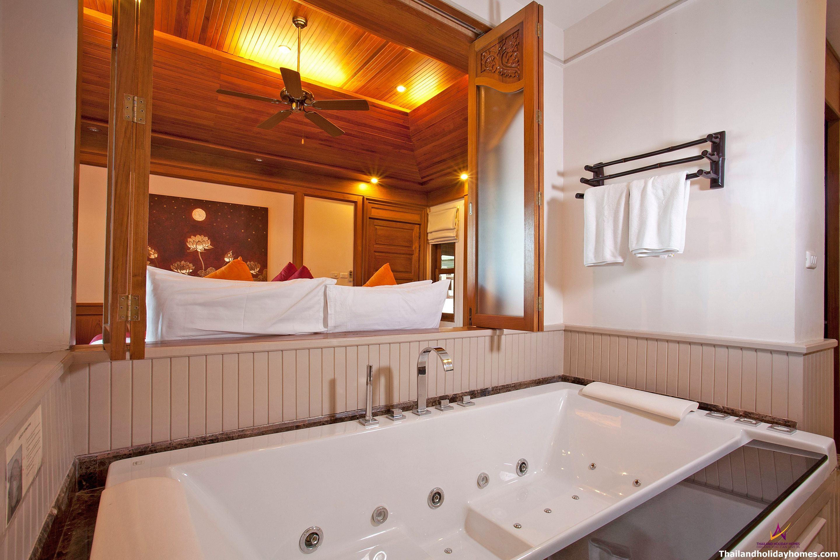 Jacuzzi in master bedroom  Lamai Sarika   Bed  Beachfront Villa with Infinity Pool and