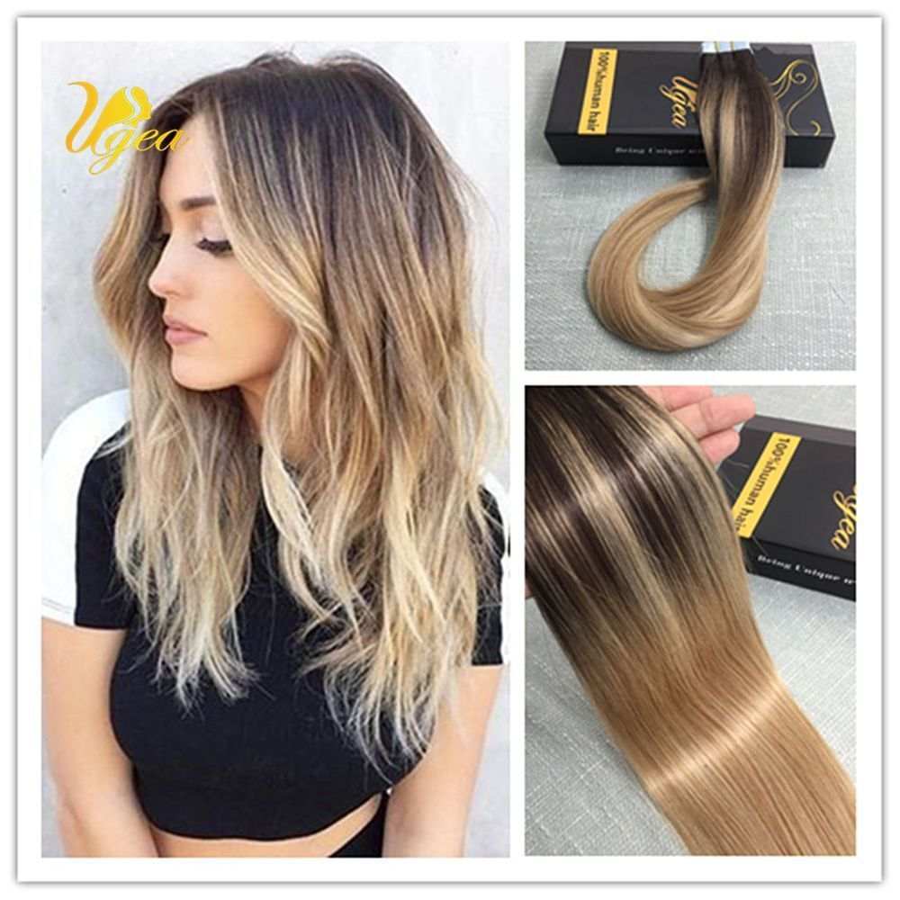 Balayage Ombre Multi Colored Brown Mix Blonde Remy Tape In Human
