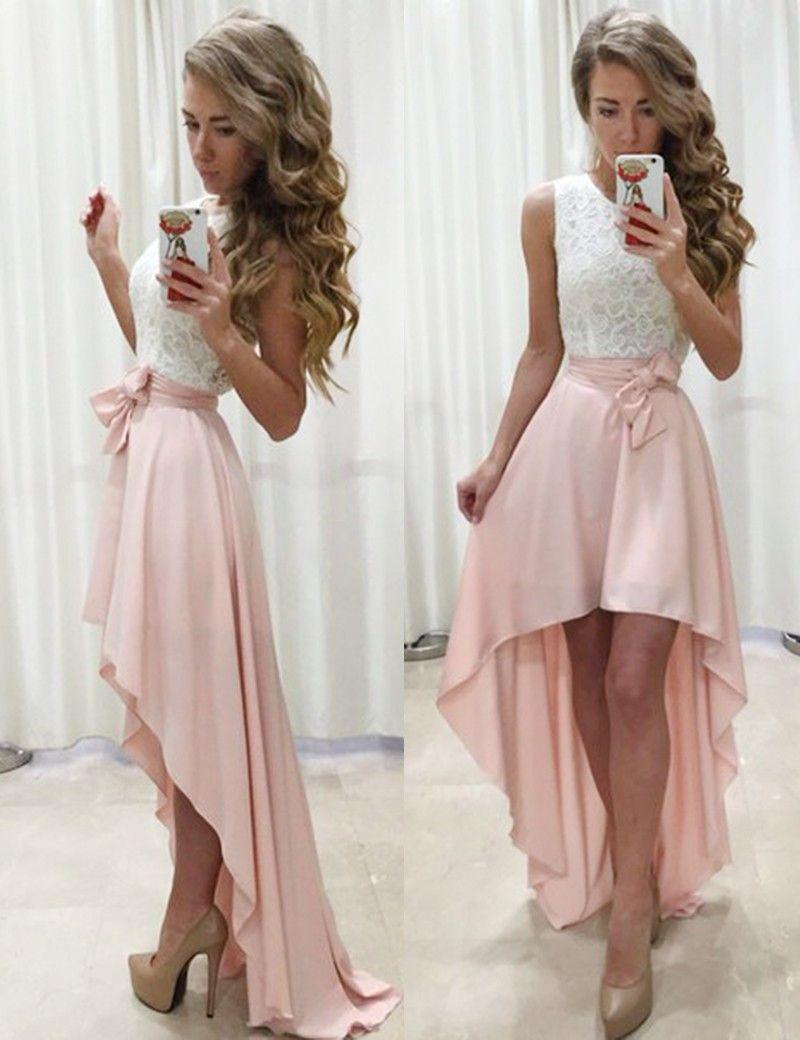 Aline jewel sleeveless high low pearl pink prom dress with sash
