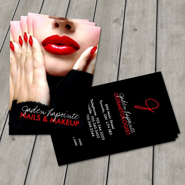 Cosmetologist business card template makeup