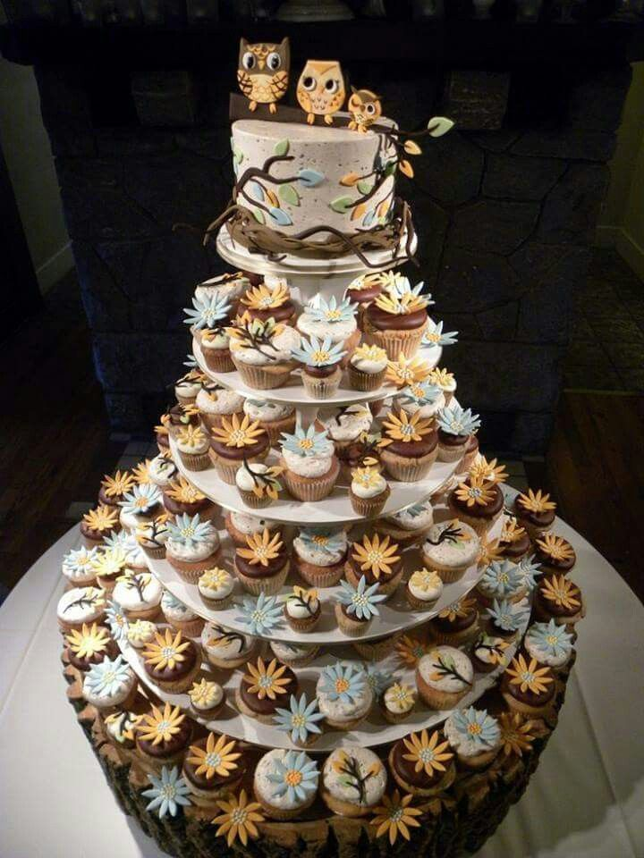 Brown and white owl cake and cupcakes
