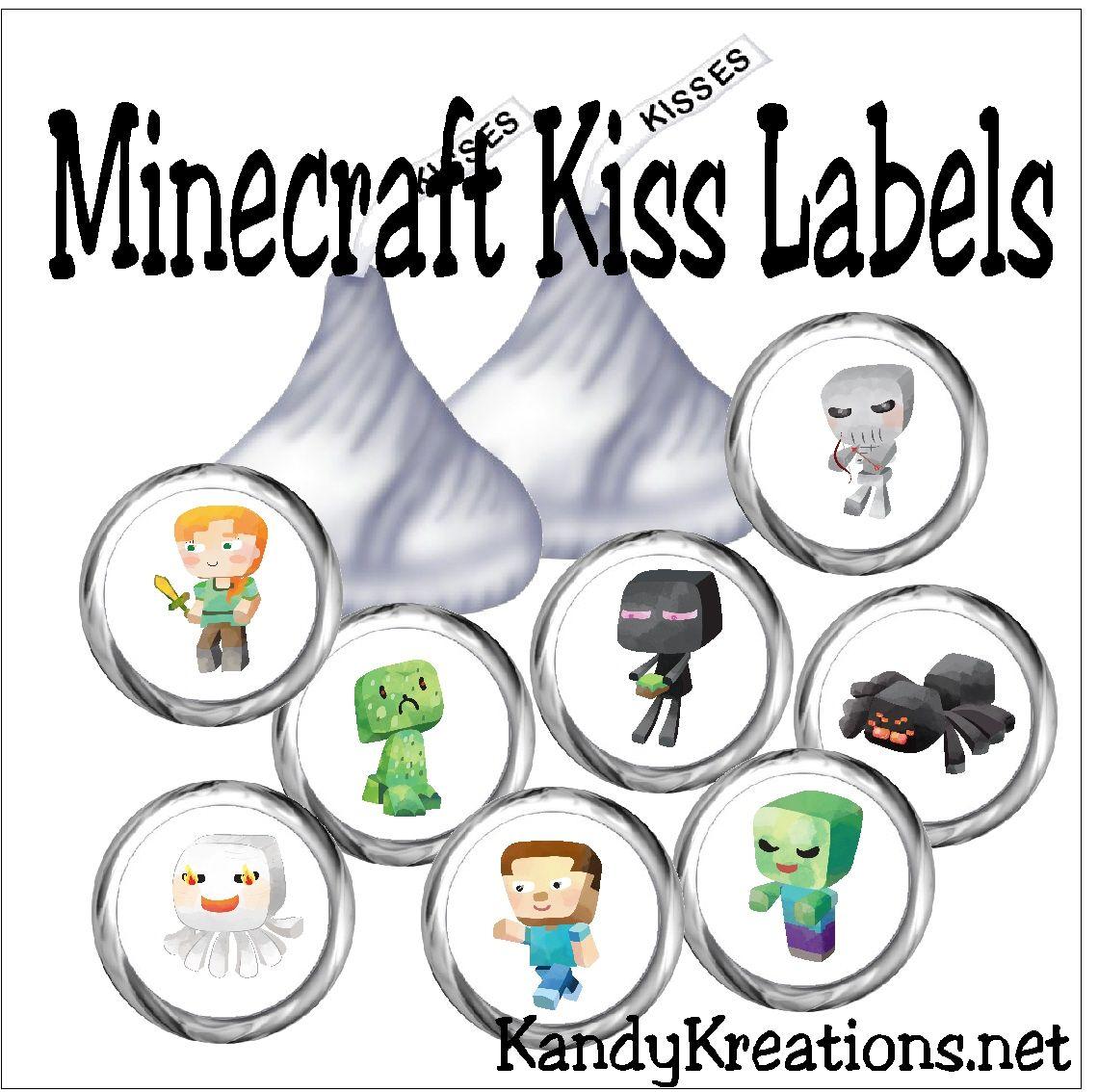 Minecraft Kiss Label Printable   Pinterest   Free printables