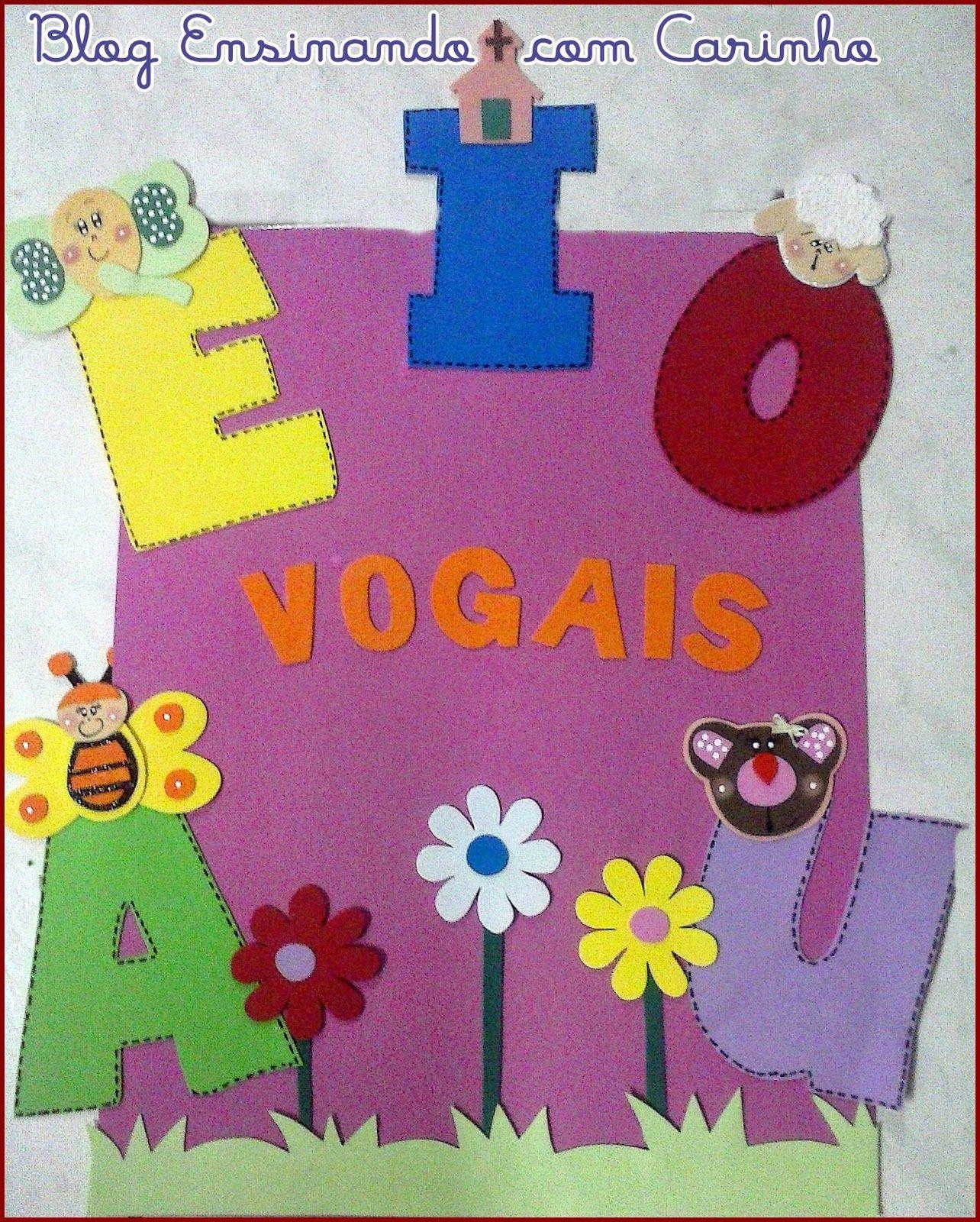 Ensinando Com Carinho Painel Das Vogais Personalizadas Em Eva  -> Decoracao Sala De Artes
