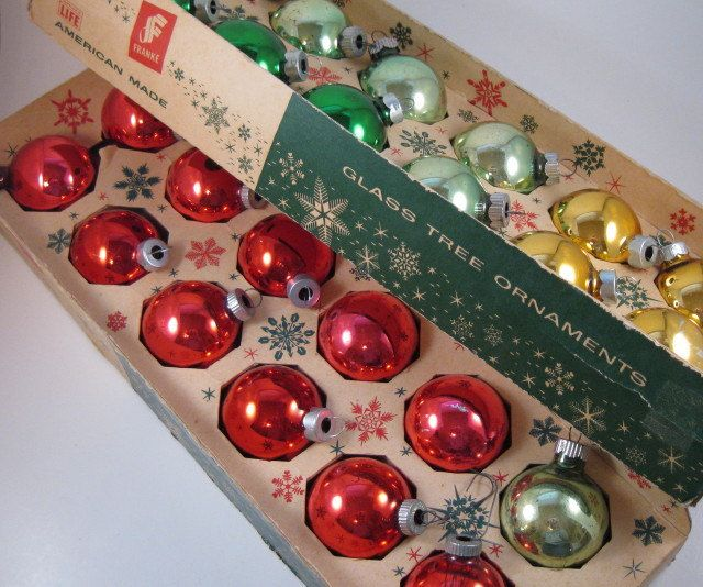 vintage glass christmas ornaments from the 1950s - 1950s Christmas Decorations
