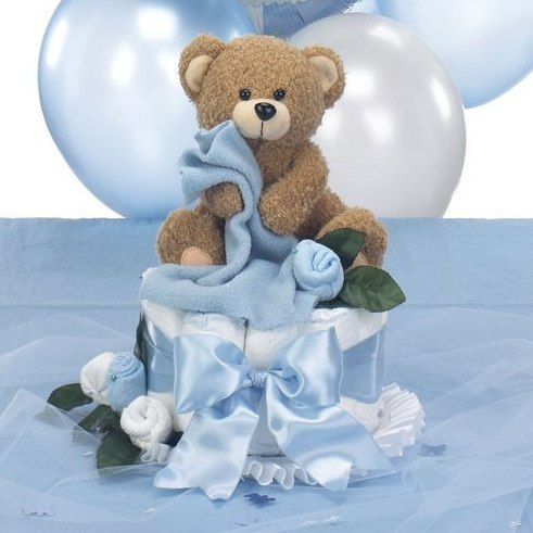 Teddy Bear Baby Shower Centerpiece   Diaper Cake With Table Decorations  (Add A Baseball Bat