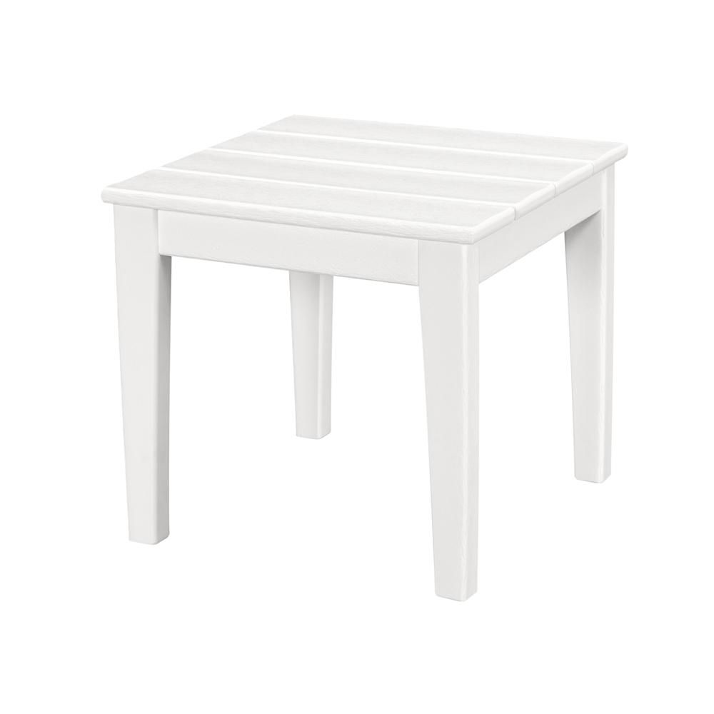 White Wooden Outdoor Side Table
