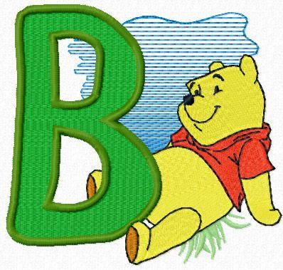 Winnie Pooh free alphabet letter B machine embroidery design ...