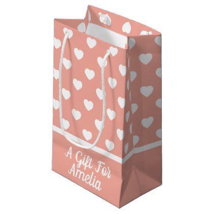 White hearts on vintage baby pink personalized small gift bag baby white hearts on vintage baby pink personalized small gift bag baby gifts giftidea diy unique negle Image collections