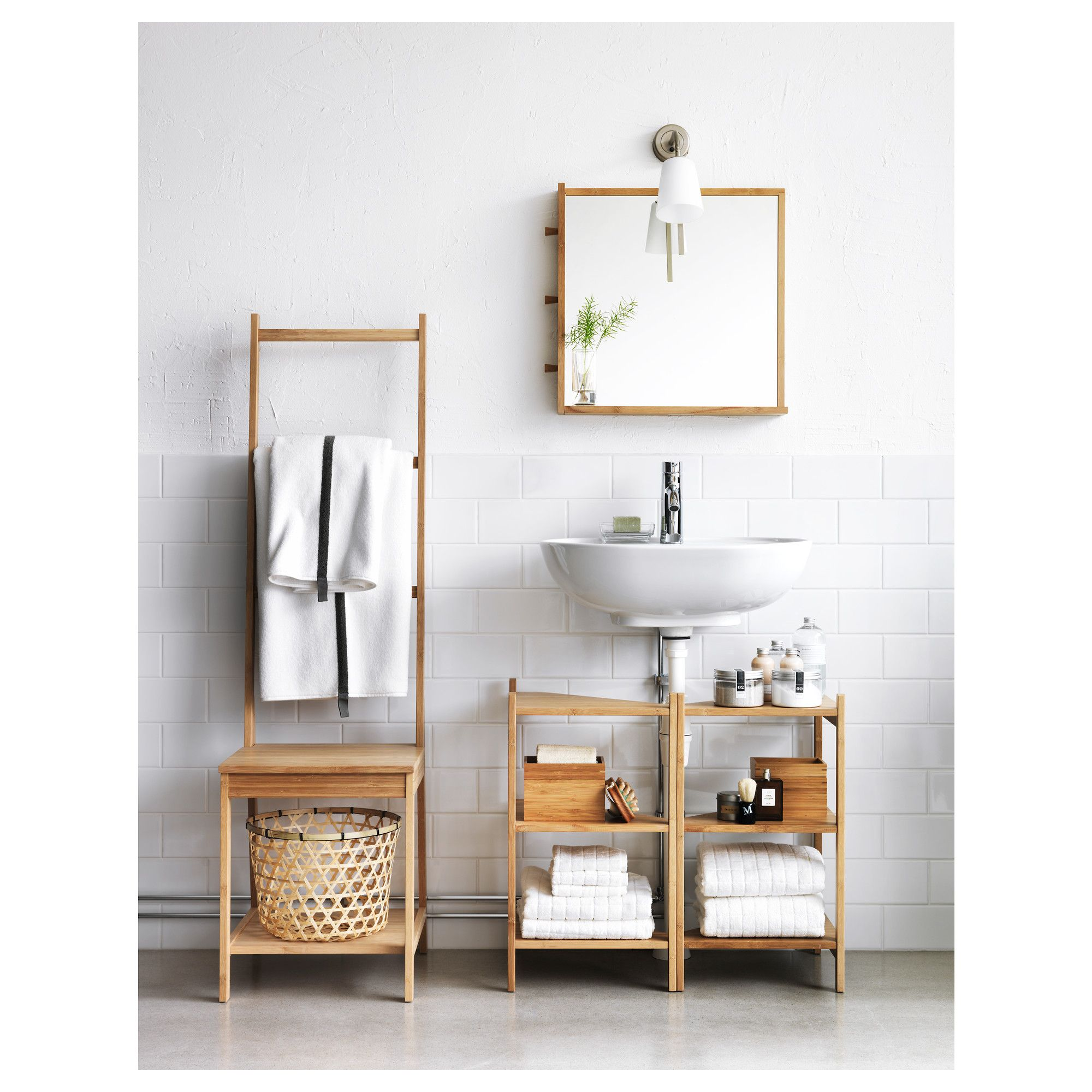 rÅgrund wash-basin/corner shelf bamboo 34x60 cm | ikea bath