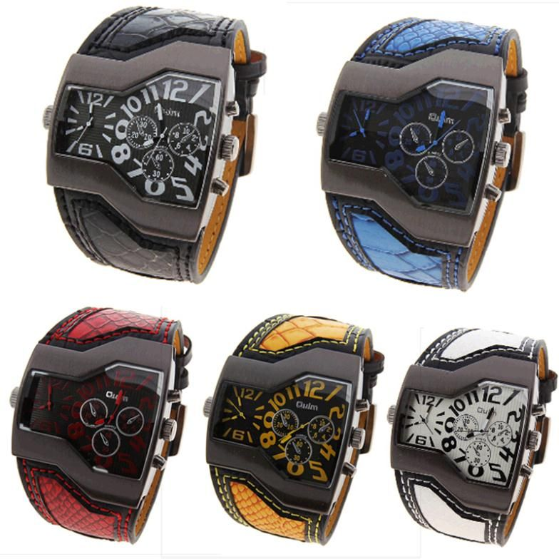 find more quartz watches information about oulm mens real leather find more quartz watches information about oulm mens real leather strap watches men watch steel military