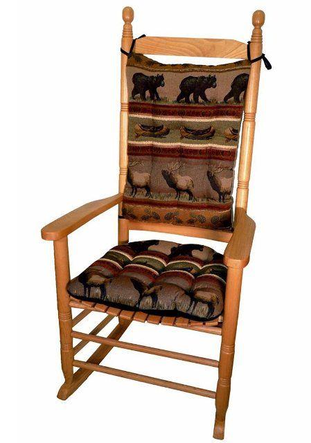 Jumbo Rocker Cushion Set   Extra Large Rocking Chair Pads With Ties