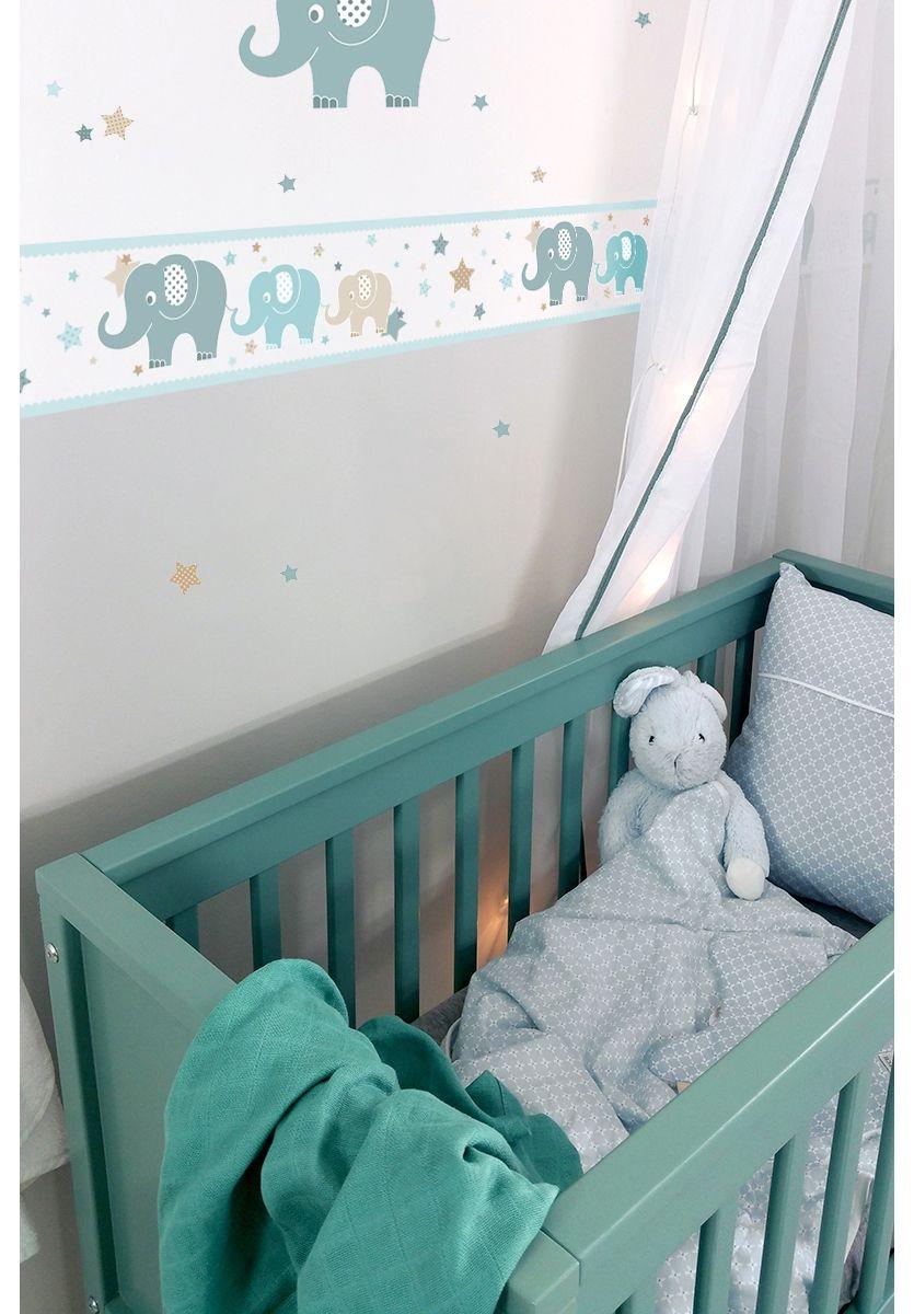 Dinki Balloon Kinderzimmer Bordure Elefanten Mint Beige Jade