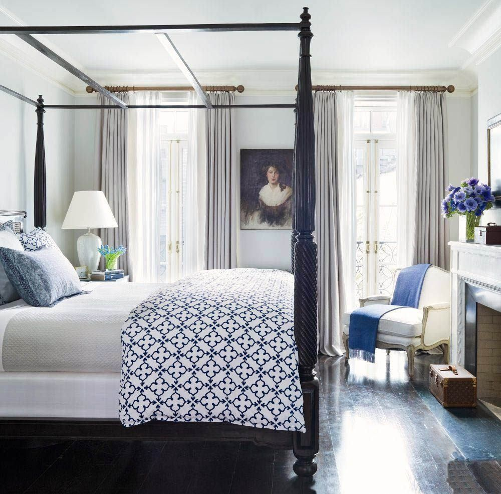 Brooke Shields Blue And White New Traditional Bedroom