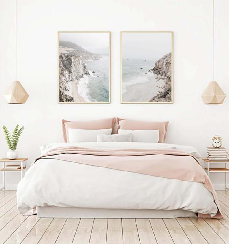 Set Of 2 Prints Art Prints Wall Art Prints Digital Prints Printable Wall Art Large Wall Art Poster Beach Print Mountain Print Art Print In 2020 Bedroom Decor For Couples Bedroom Wall Decor Above Bed Bedroom Design